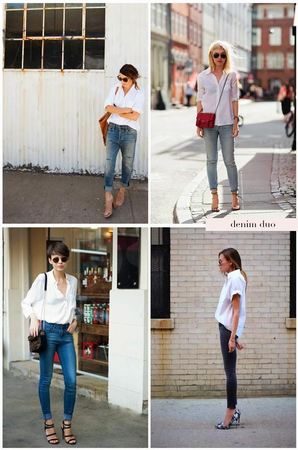 white button down denim heels