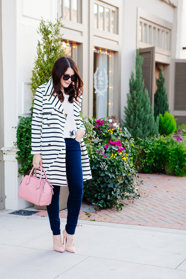 striped trench jacket and floral blouse by style blogger kendi everyday.