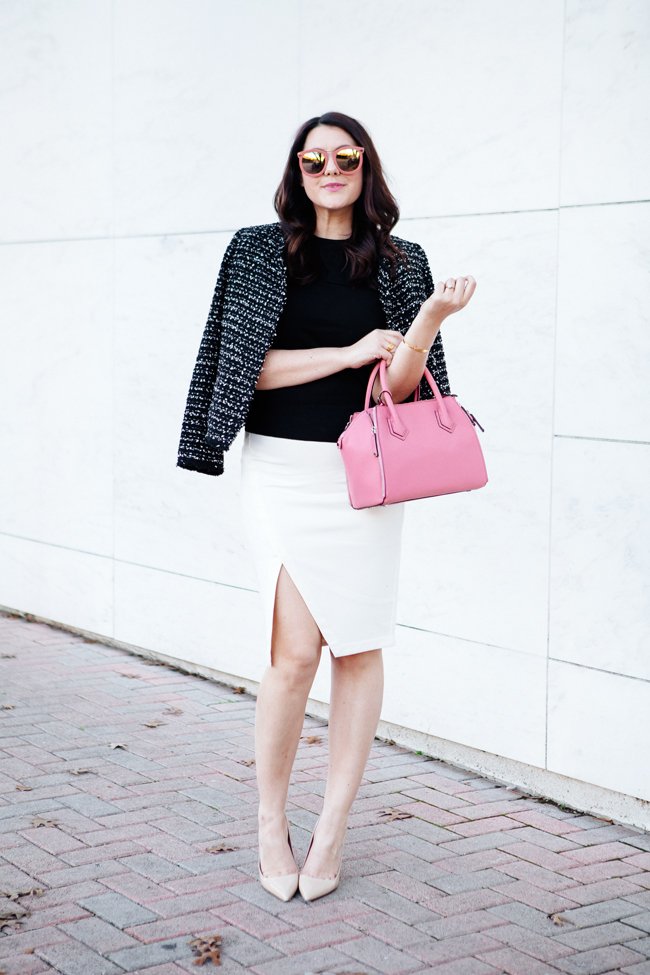 tweed jacket and white pencil skirt with pink accessories by kendi everyday