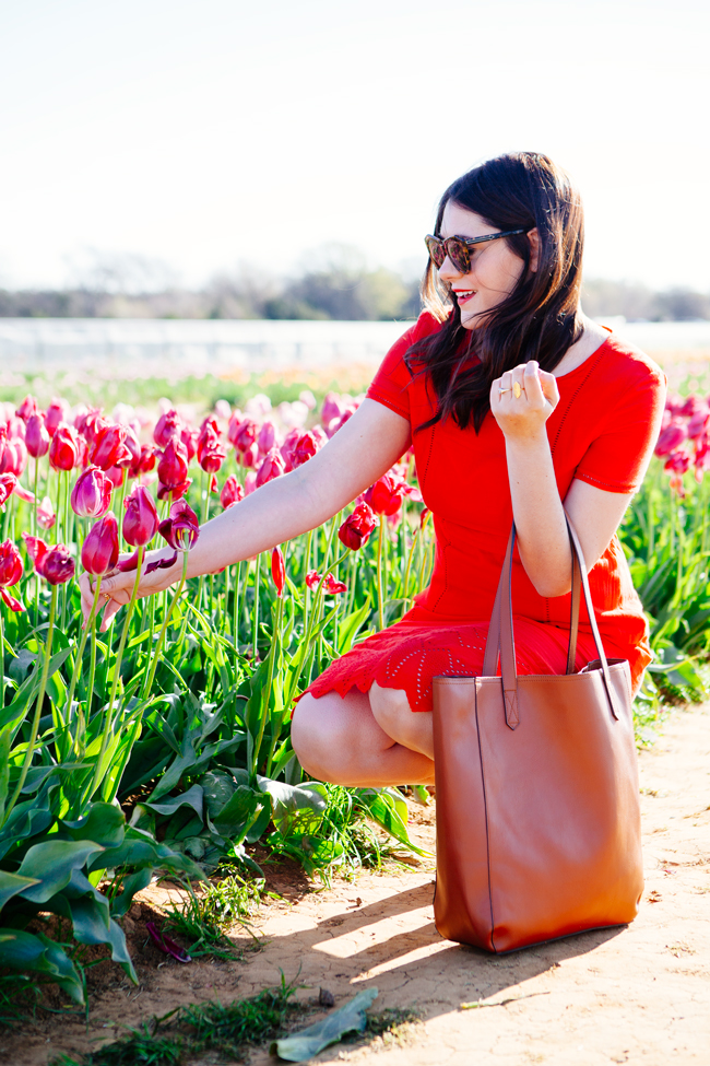 Red embroidered dress by Kendi Everyday