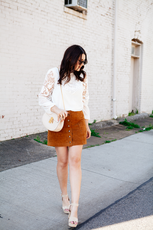 Suede skirt and lace top by style blogger Kendi Everyday.