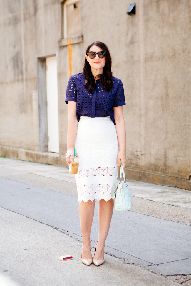 f0abbdaa72 What to wear to work: pencil skirt + eyelet top on Kendi Everyday