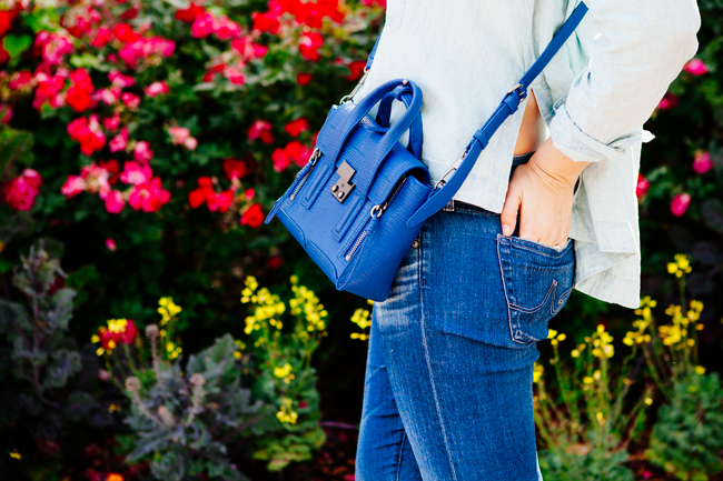 Chambray top and boyfriend jeans on Kendi Everyday