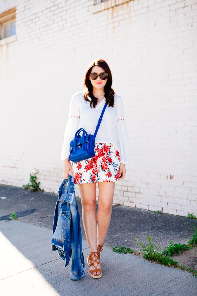 Floral shorts and denim jacket on Kendi Everyday
