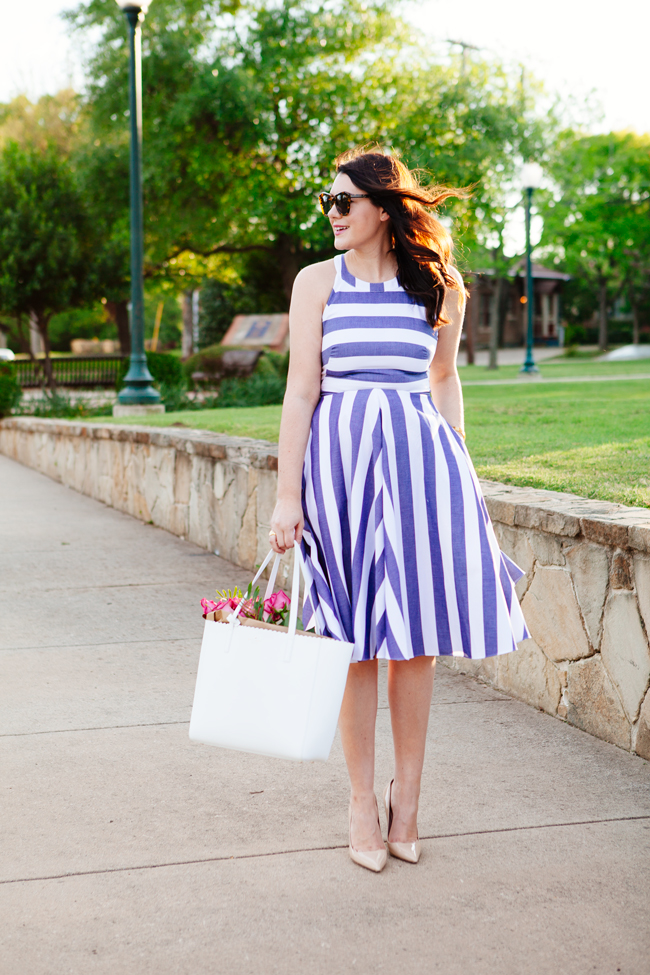 Striped Eliza J. Dress on Kendi Everyday.