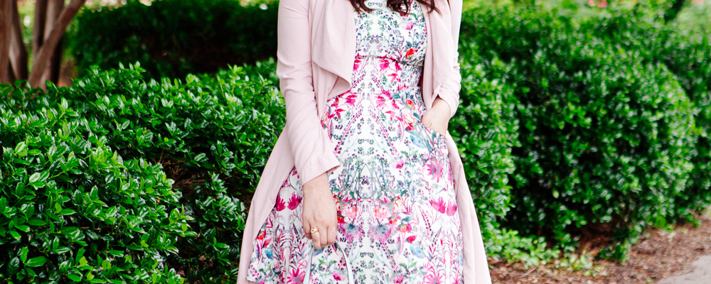 Ted Baker Floral Dress and Pink Trench on Kendi Everyday