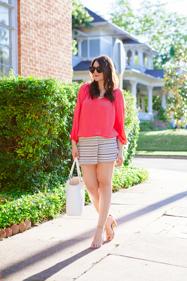 Coral Blouse and Wrap Skirt