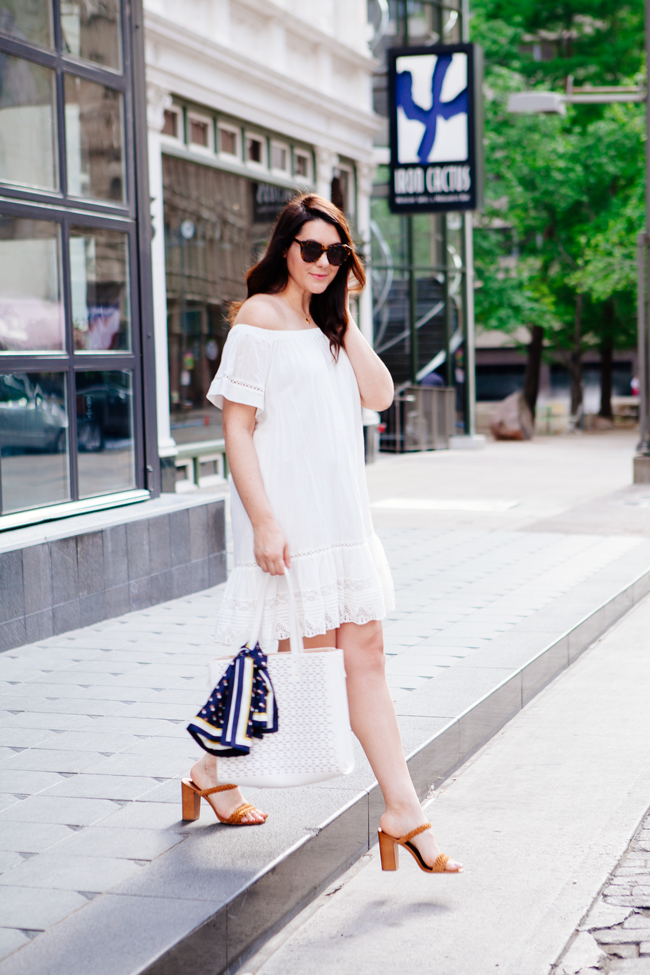 Rebecca Taylor Off the Shoulder Dress, featured on Kendi Everyday.