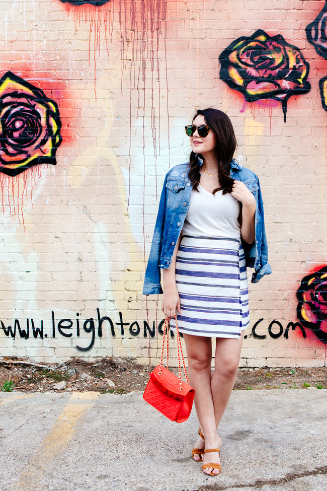 Loft striped skirt and white tee featured on Kendi Everyday.