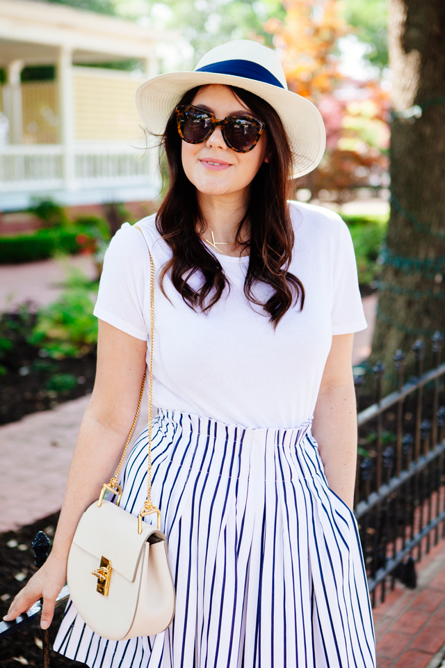 Little White Tee and Striped Skirt on Kendi Everyday