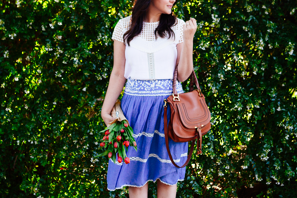 Chambray skirt + lace top on Kendi Everyday