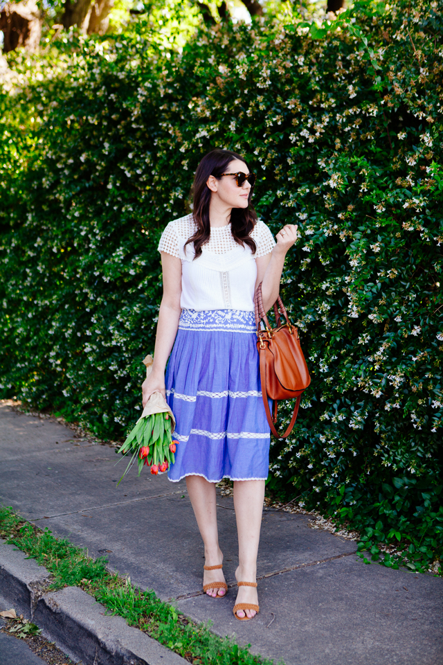 Chambray Skirt + Lace Tee on Kendi Everyday