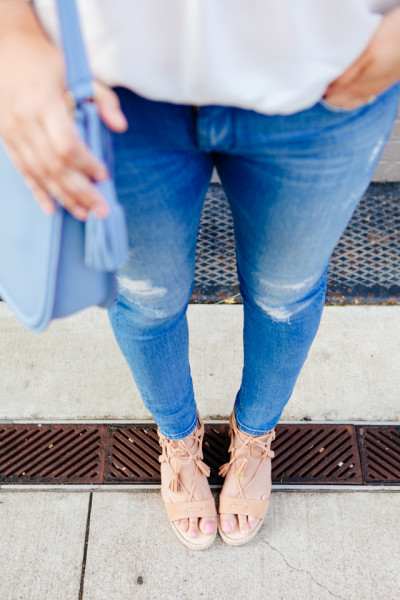 Lace up blouse and lace up espadrilles on Kendi Everyday