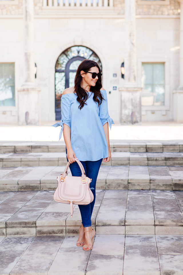 Kendi Everyday in Chambray Sleeveless Tunic and Ripped Skinny Jeans