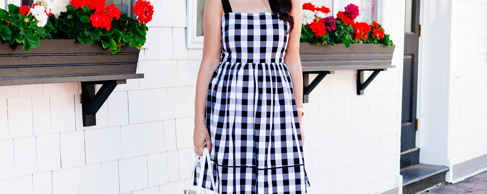 Kendi Everyday in a Kate Spade Black and White Gingham Dress