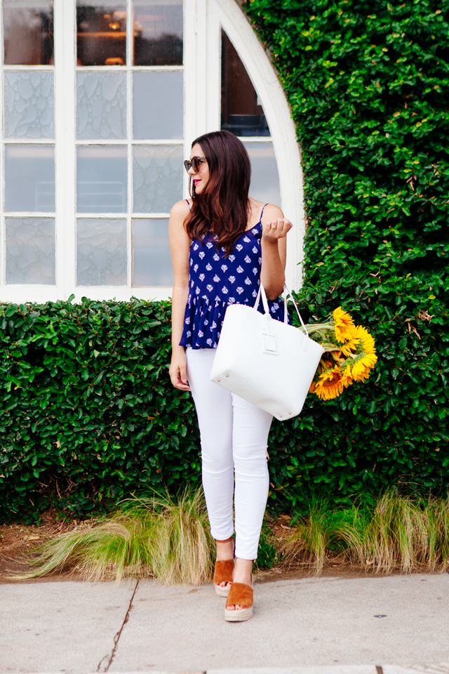 Navy printed peplum tank and white jeans on Kendi Everyday