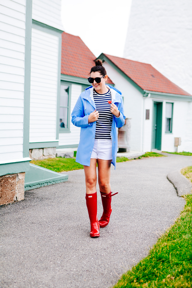 Striped Tee and Hunter Boots on Kendi Everyday