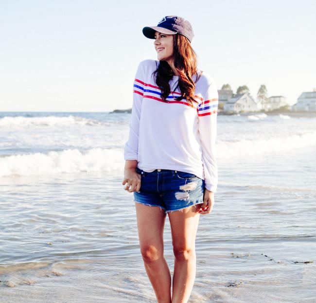 Kendi Everyday wearing a Wildfox Striped Sweatshirt and denim cut Offs on the beach