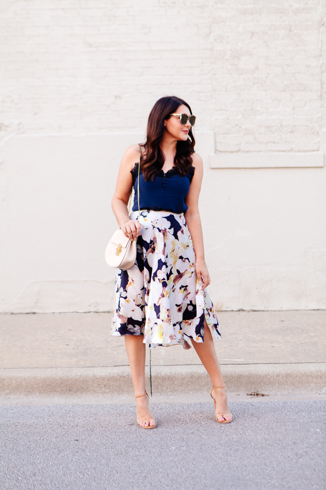 Floral skirt with navy camisole on Kendi Everyday.