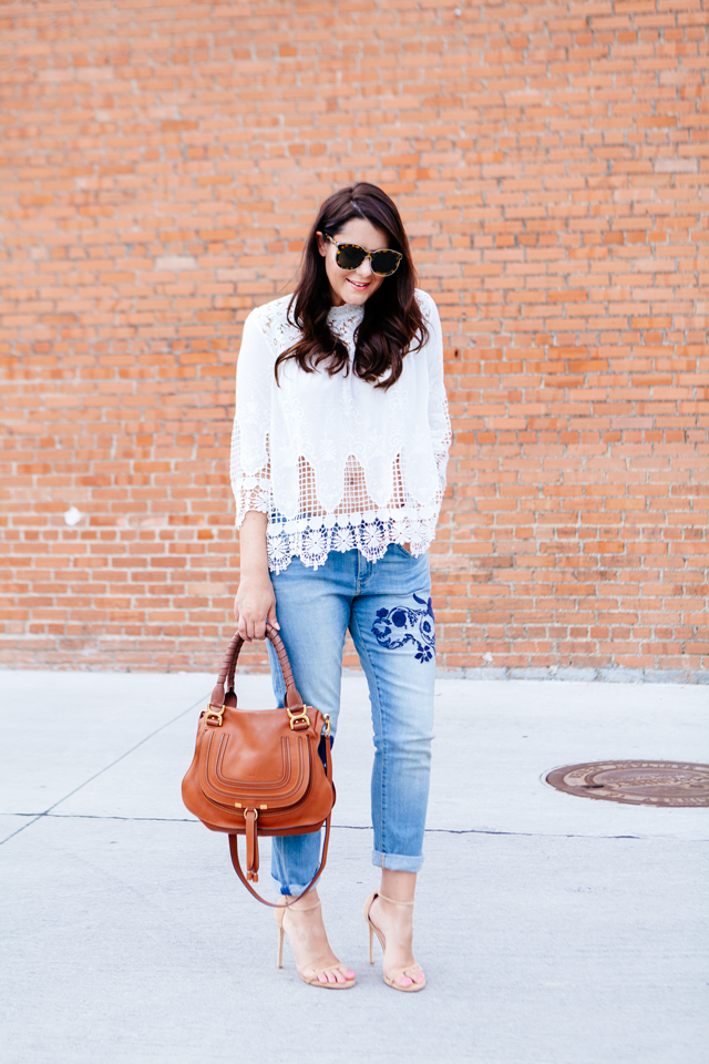 Kendi Everyday wearing Embroidered Denim with a lace boho blouse.