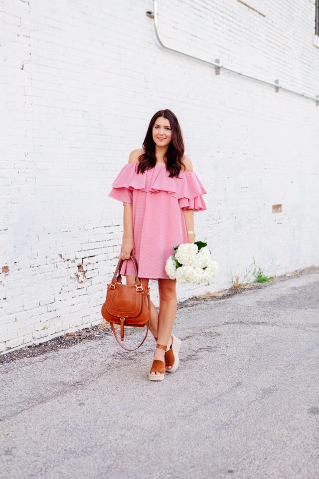 Red Gingham Off the Shoulder Dress on Kendi Everyday