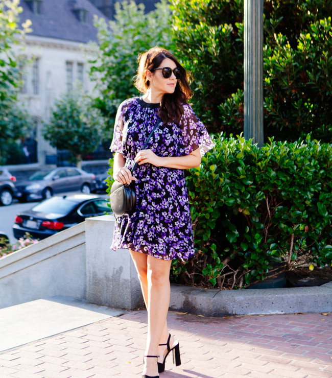 Floral Kate Spade Dress and Black Round Crossbody as featured on Kendi Everyday.