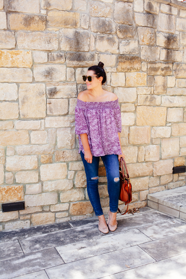 6fe82c01aea217 Floral Off the Shoulder Blouse with distressed denim on Kendi Everyday