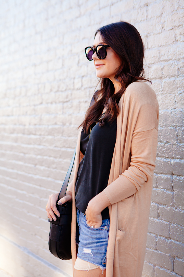 Casual camel cardigan with grey tee with cut offs on Kendi Everyday