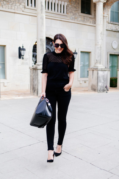 Little Black Heels and an all black outfit on Kendi Everyday.