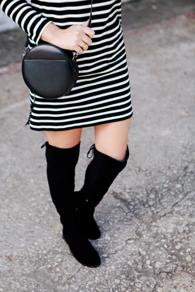 Striped dress with over the knee boots on Kendi Everyday.