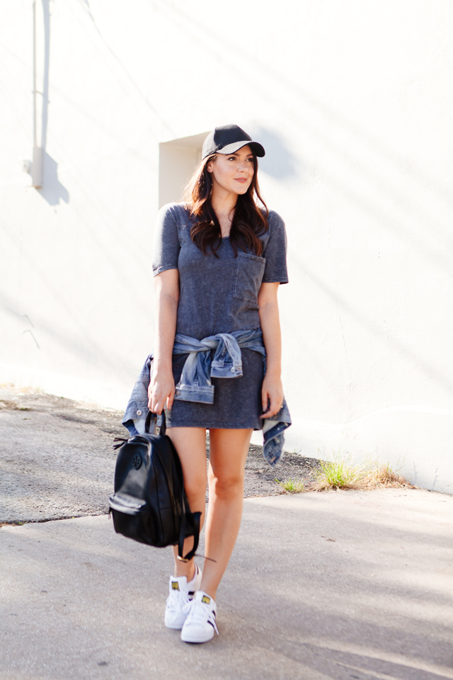 Treasure and Bond T-shirt dress with denim jacket and white sneaks on Kendi Everyday.