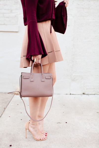 Bell Sleeve top with camel flare skirt on Kendi Everyday