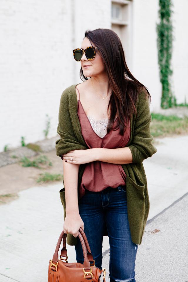 Olive oversized cardigan with rose camisole on Kendi Everyday.
