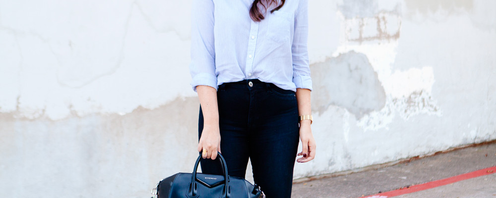 Button down blouse and skinny jeans on Kendi Everyday