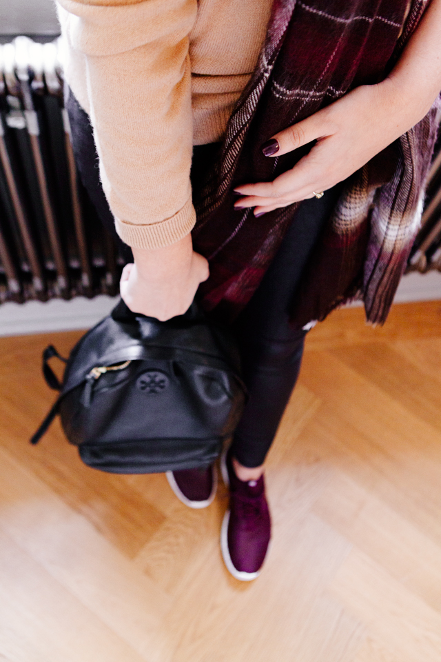 Tory Burch Pebble Leather Backpack, plaid scarf and purple nikes on Kendi Everyday