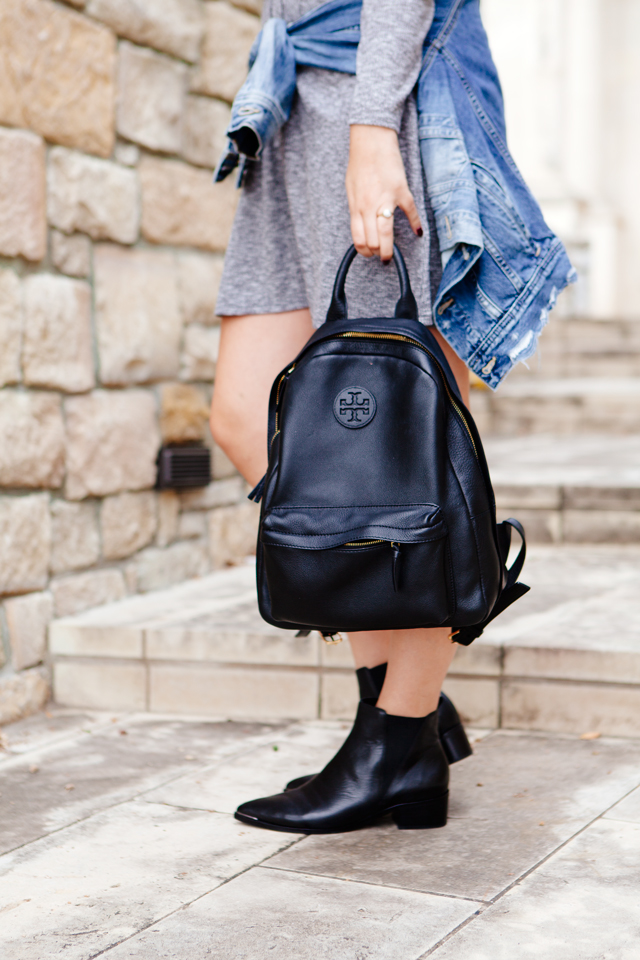 Knit Madewell dress with black chelsea boots and Tory Burch Leather Backpack.