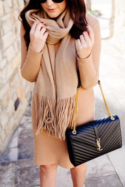 Camel dress with oversized camel scarf and YSL Monogram Purse, on Kendi Everyday.