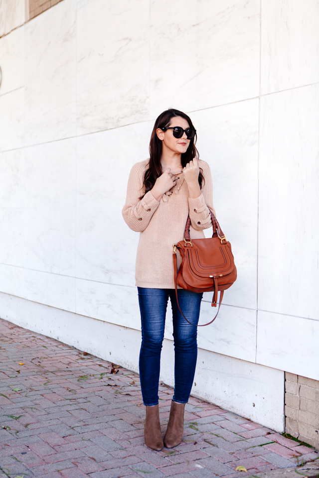 Lace up sweater with skinny denim on Kendi Everyday