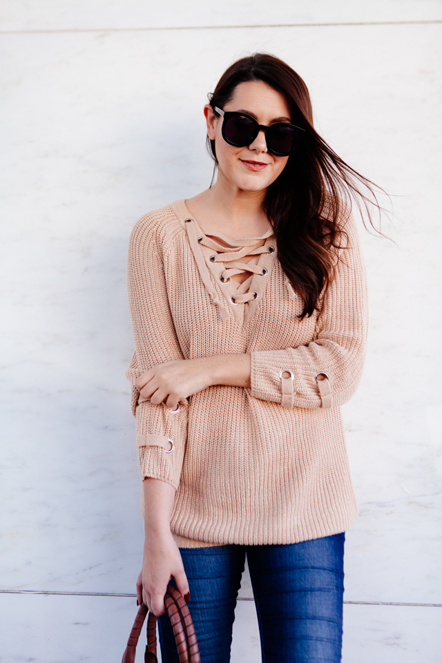 38b8c15897 Lace up sweater with skinny denim on Kendi Everyday