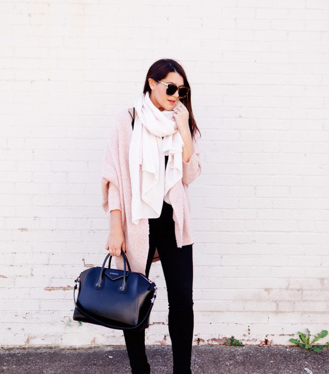 Pale pink cardigan and pale pink scarf outfit on Kendi Everyday