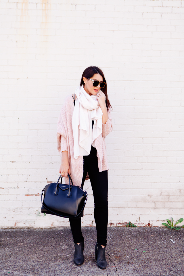 924f7325167 Pale pink cardigan and pale pink scarf outfit on Kendi Everyday
