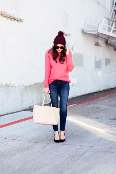 Topshop Pink Sweater with Purple Pom Pom Beanie outfit on Kendi Everyday