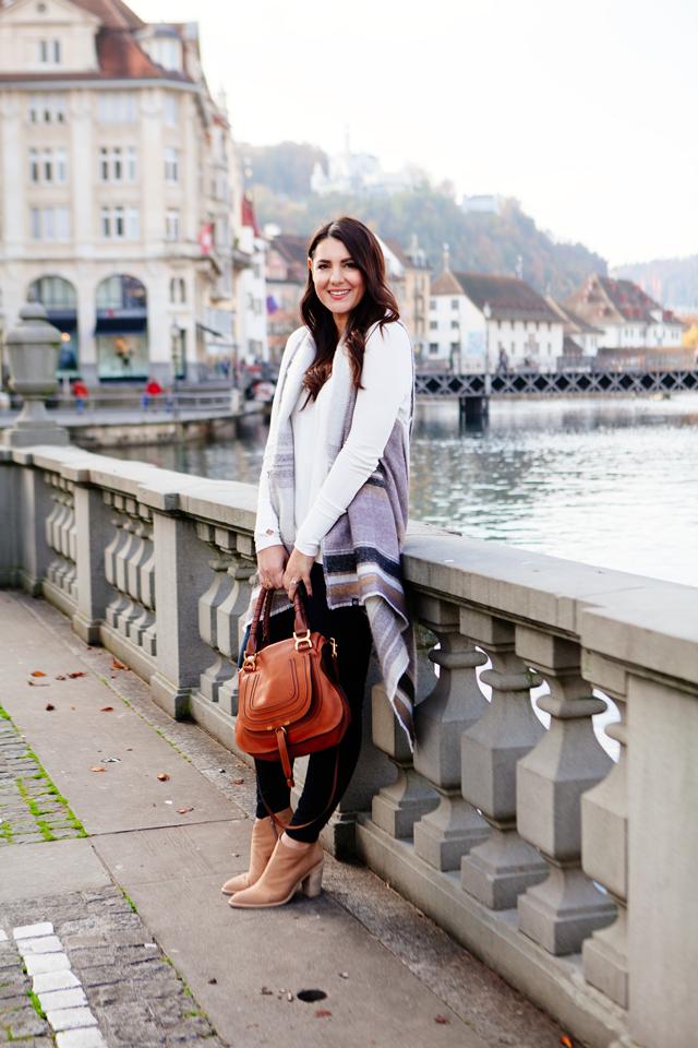 Layered scarf vest with skinny denim and Chloe Marcie Bag on Kendi Everyday.