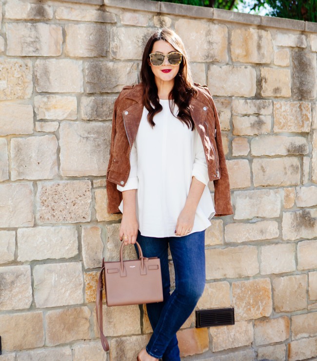 Suede Jacket with white blouse and skinny denim on Kendi Everyday