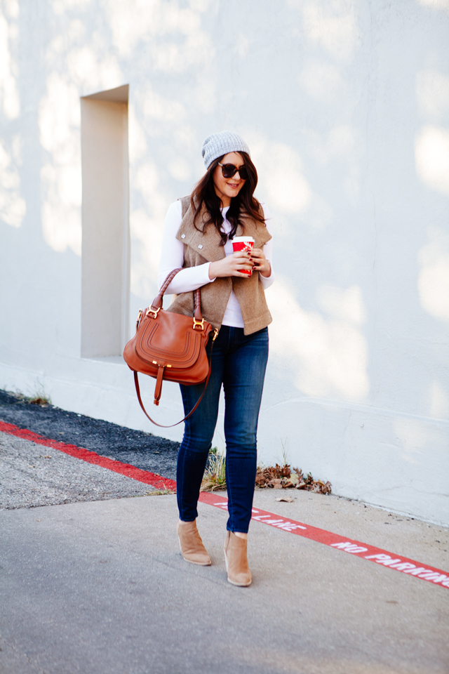 BB Dakota Elm Vest with Skinny jeans and booties