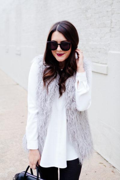 Grey faux fur vest under $150.