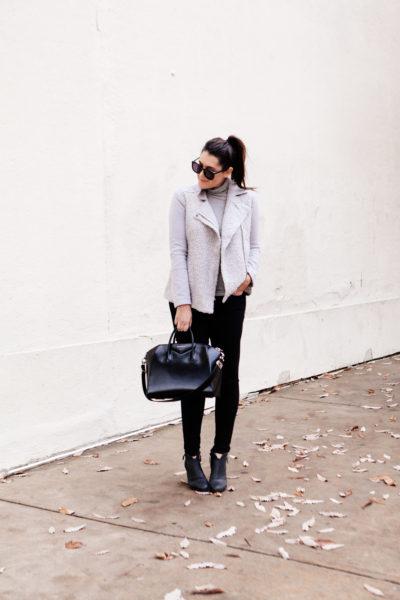 Grey Moto Jacket on Kendi Everyday