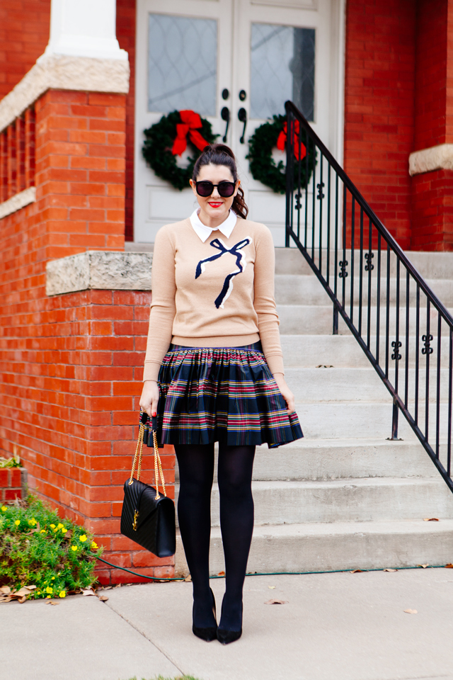 Bow sweater and plaid mini skirt on Kendi Everyday