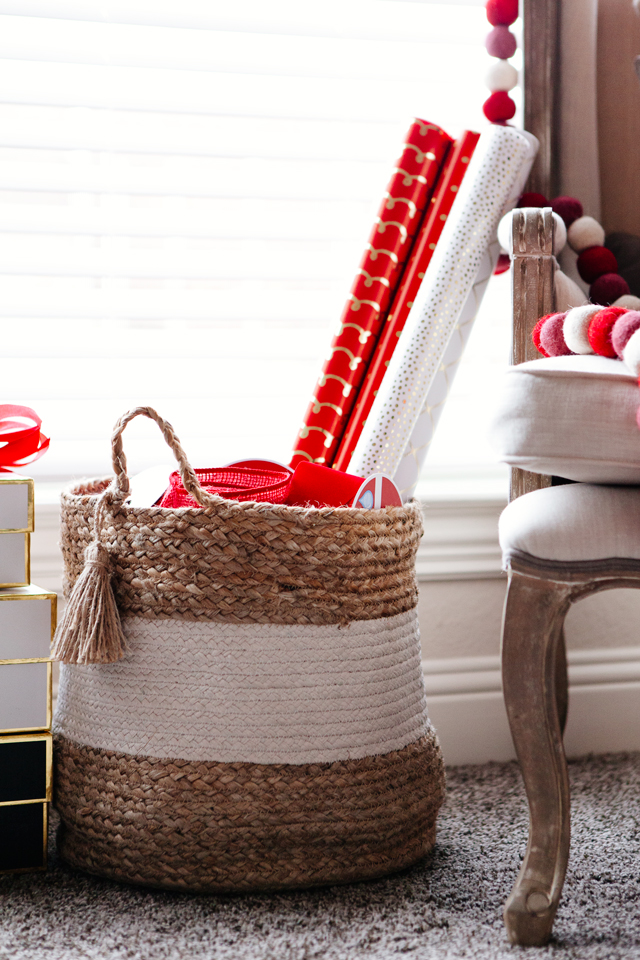 Basket with wrapping paper stored in it.