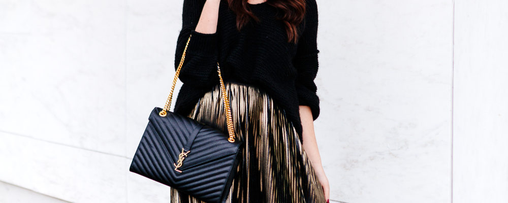 Holiday outfit. Metallic Midi skirt and slouchy sweater on Kendi Everyday
